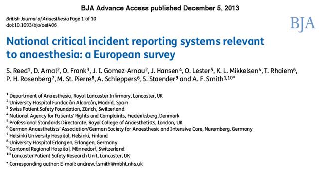 Sistemas de comunicación de incidentes en Anestesia en Europa