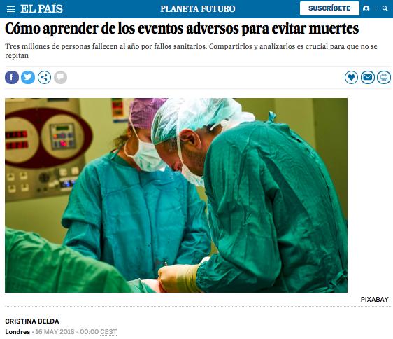 Cómo aprender de los eventos adversos para evitar muertes: SENSAR en El País