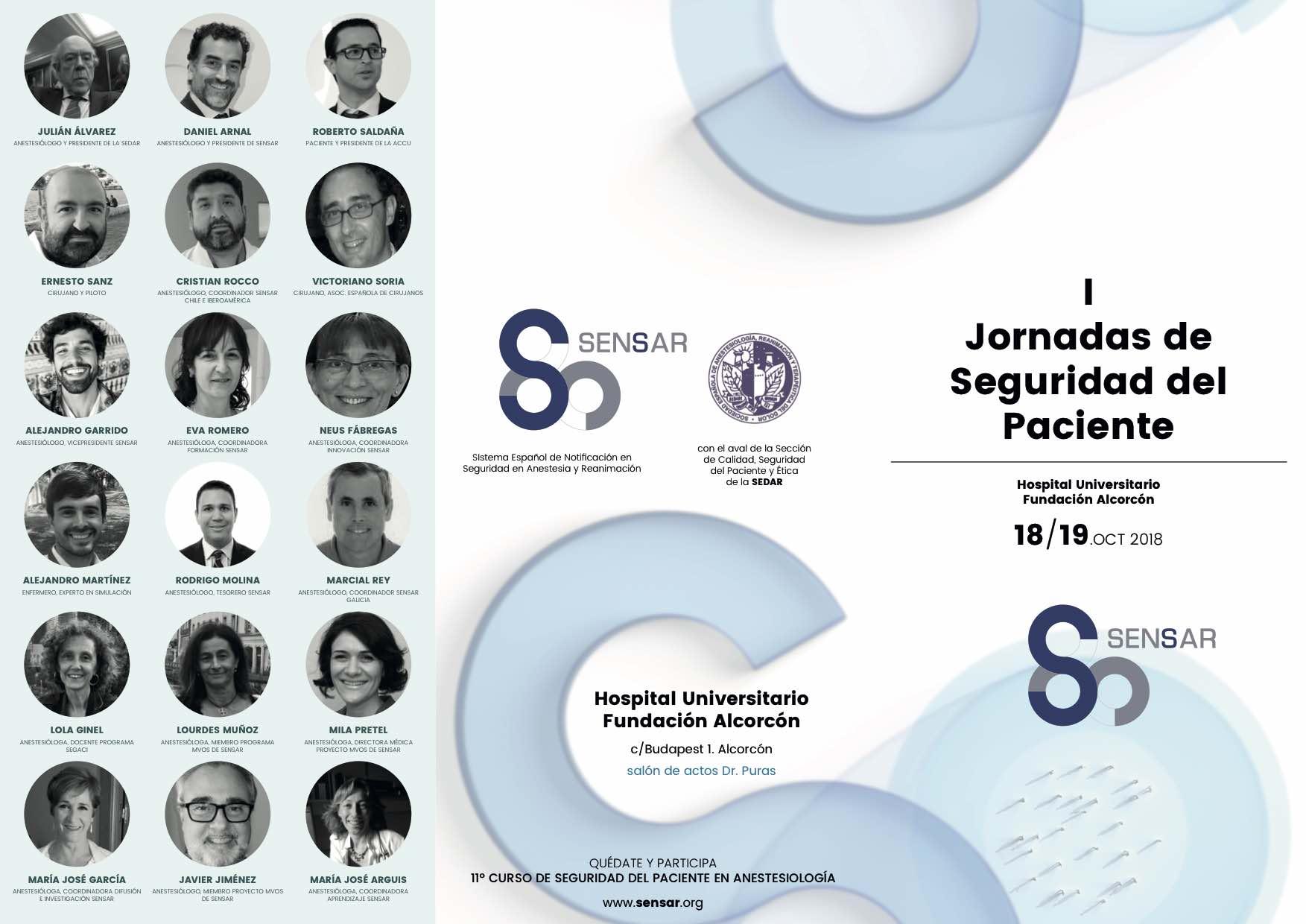 Disponible el programa definitivo de las I Jornadas de Seguridad del Paciente SENSAR