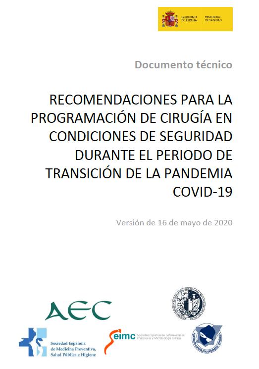 Recomendaciones de reinicio  seguro de cirugía electiva