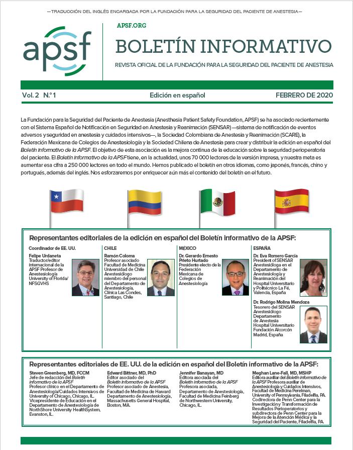 Nueva edición del boletin de la Anesthesia Patient Safety Foundation (APSF) en castellano