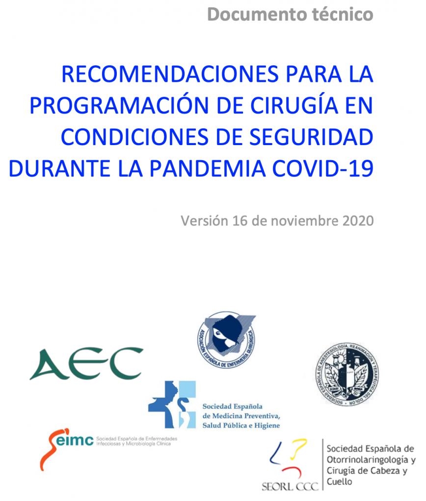Recomendaciones de seguridad cirugía electiva en pandemia